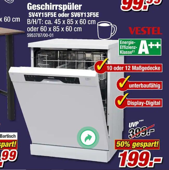 Geschirrspüler von Vestel - SV6Y13F5E (unterbaufähig und A++) für nur 199,99€ bei Poco