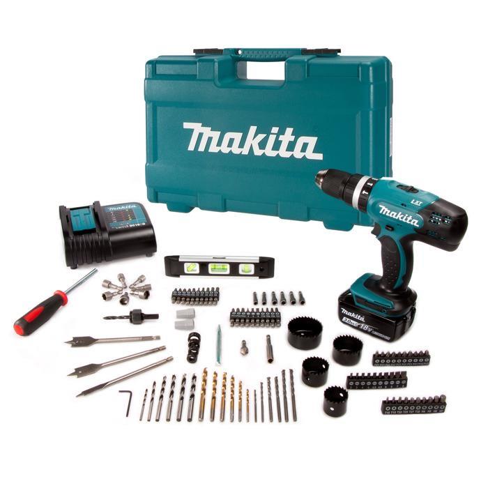Makita Akku-Schlagbohrschrauber-Set DHP453FX12 18 V, 104-teilig 10% durch Newsletter Coupon