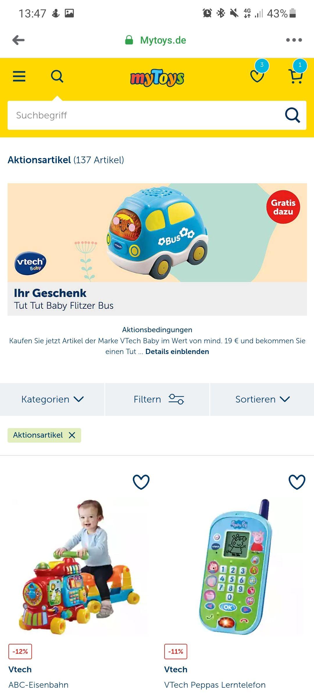 Gratis Vtech Auto mit Bestellung ab 19 €
