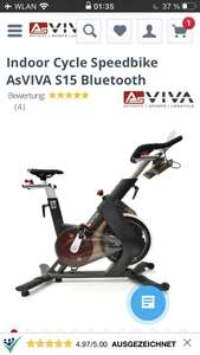 Indoor Cycle Speedbike AsVIVA S15 Bluetooth (Vorkasse)