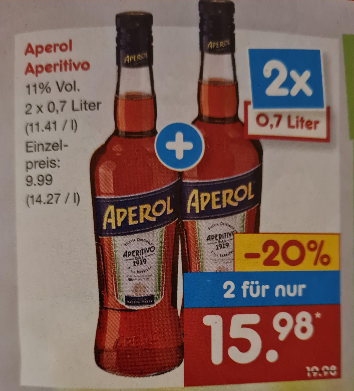 2 Flaschen Aperol Aperitivo 2 x 0,7l verschiedene Sorten ab 01.03 Netto