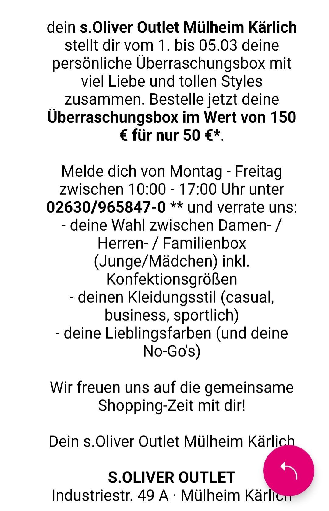 S.oliver Store in Mülheim-Kärlich Überraschungsbox (lokal?)