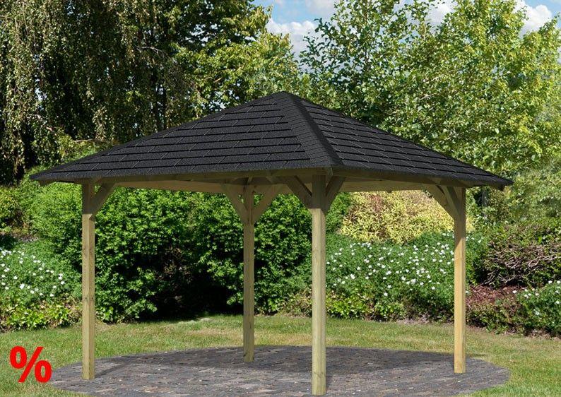 PREISFEHLER Set: Karibu Pavillon Cordoba kdi inlk. schwarzen Dachschindeln und Pfostenankern