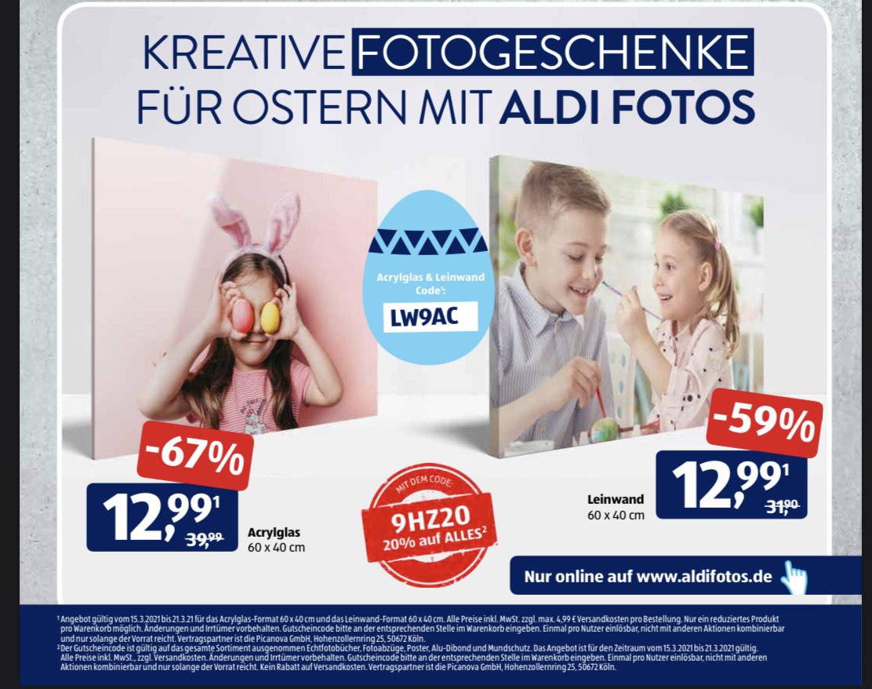 ALDI Fotos 20% auf alles + Sonderaktion auf Leinwand und Acrylglas