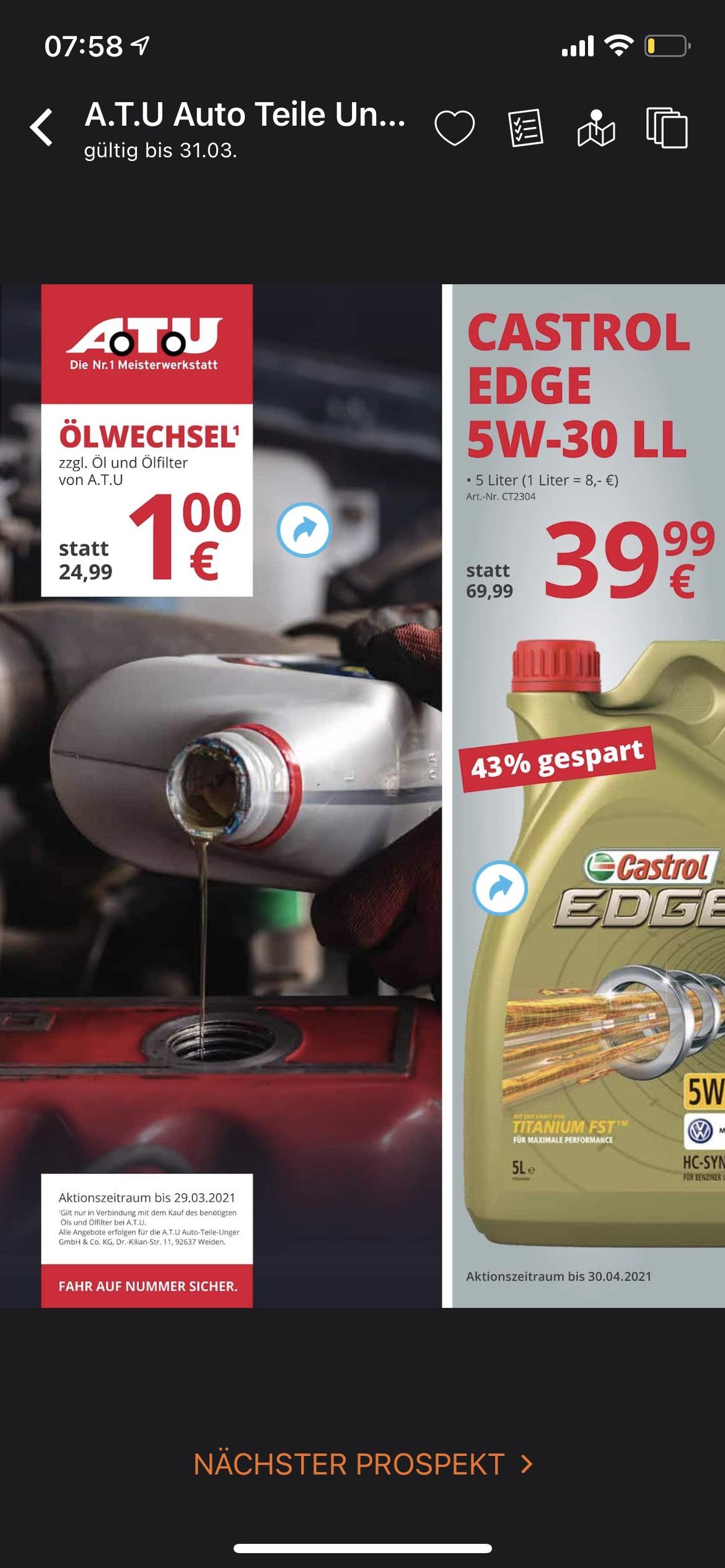 Ölwechsel und Castrol Edge 5w30 LL