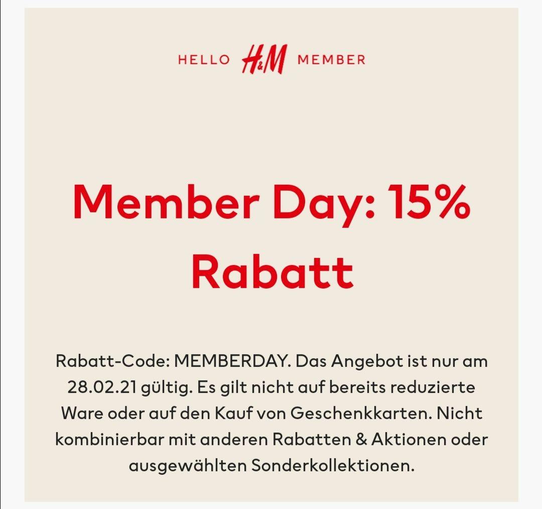 H&M 15% für Member am Memberday