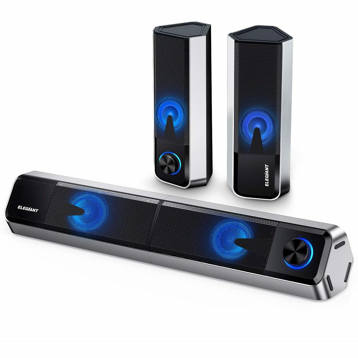 ELEGIANT PC Lautsprecher (Soundbar) 10 W Bluetooth 5.0 & AUX Play