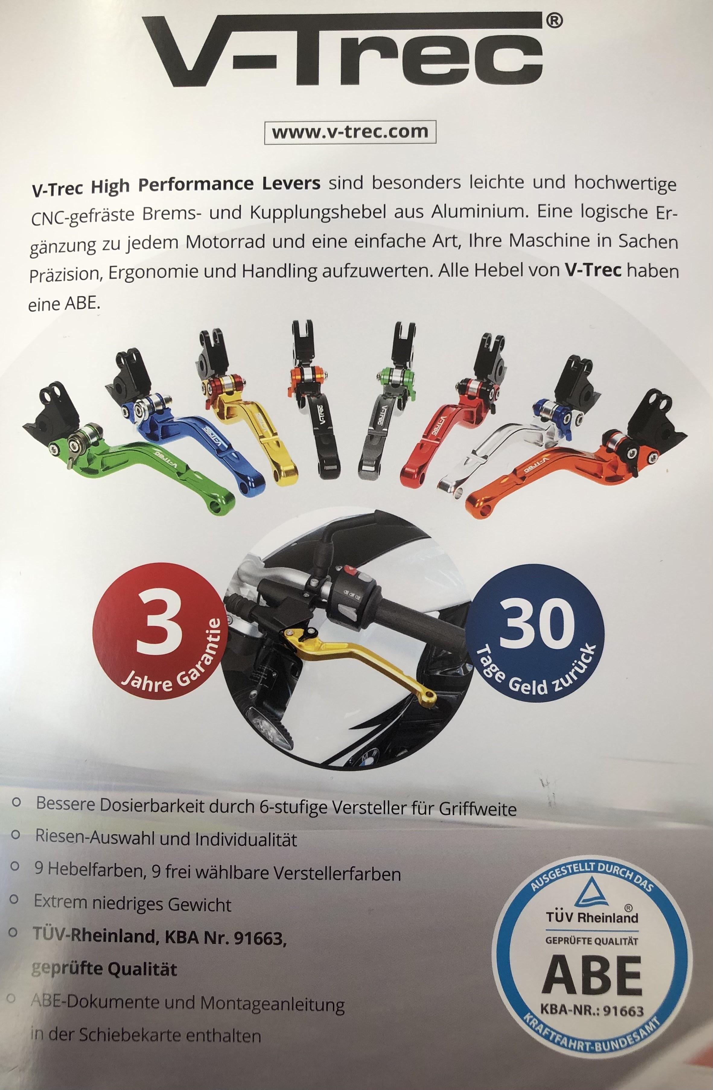 FROSTZEIT o.O [Motea] 25% auf alles (Motorrad-Zubehör) z.B. V-Trec Brems- und Kupplungshebel mit ABE