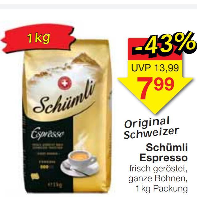 Original Schweizer Schümli Espresso 1 kg geröstete Kaffeebohnen