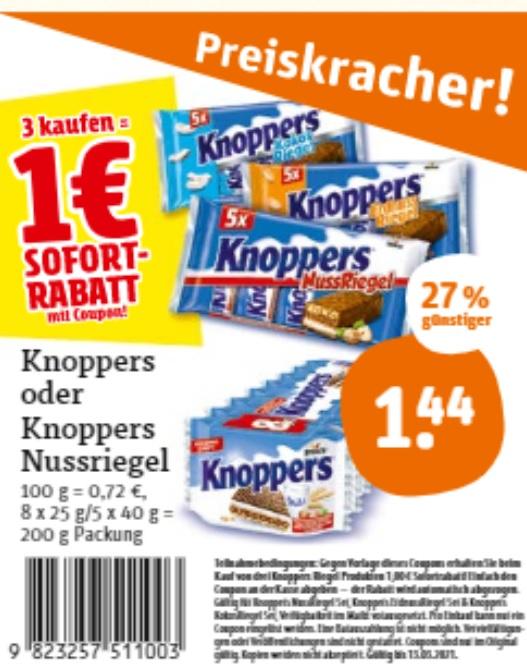 [Tegut] 3 x Knoppers Riegel (5er/8er Pack) verschiedene Sorten nur mit original Coupon für 3,32 € (Stück = 1,11)