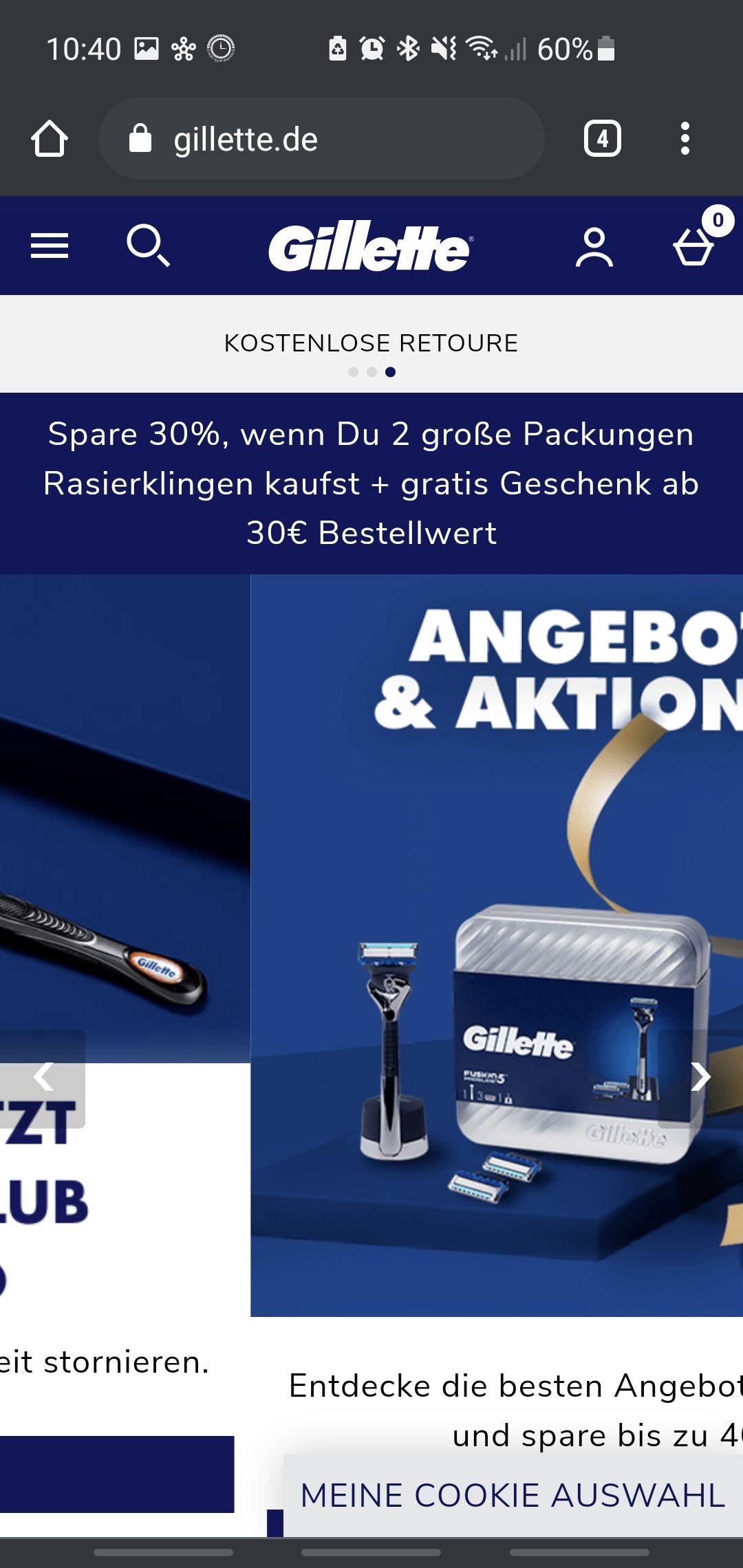 40% Rabatt beim Kauf von zwei großen Klingenpacks (z.B. 32 Mach3 Klingen 1,05€ pro Klinge)