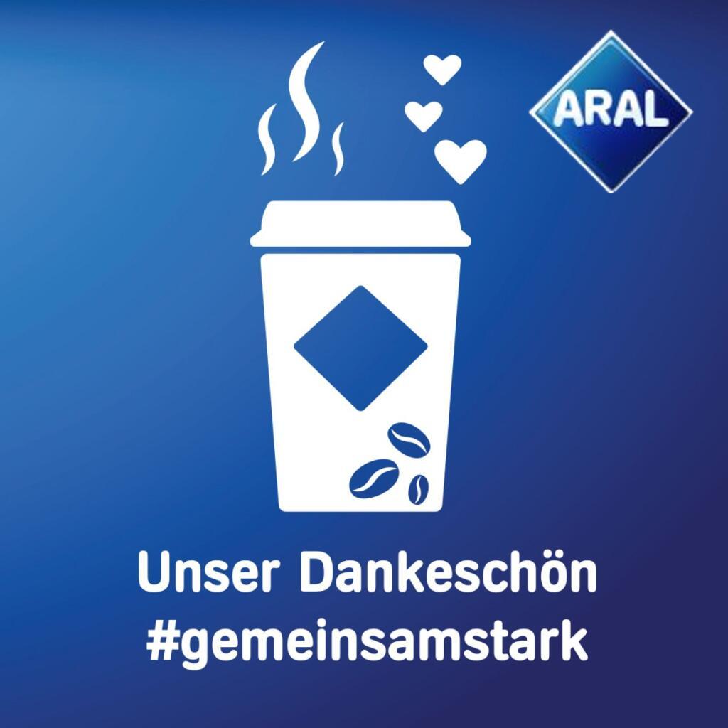 Gratis Kaffee bei allen ARAL Tankstellen für alle Helfer - z.B. Pflegekräfte, Polizei, Ärzte, Reinigungskräfte usw.