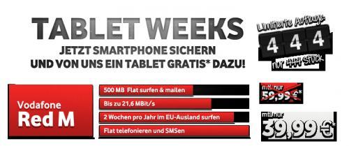 Vodafone Red M für nur 39,99 Euro mtl. + Samsung Galaxy S3 + gratis Galaxy Tab + Speicherkarten