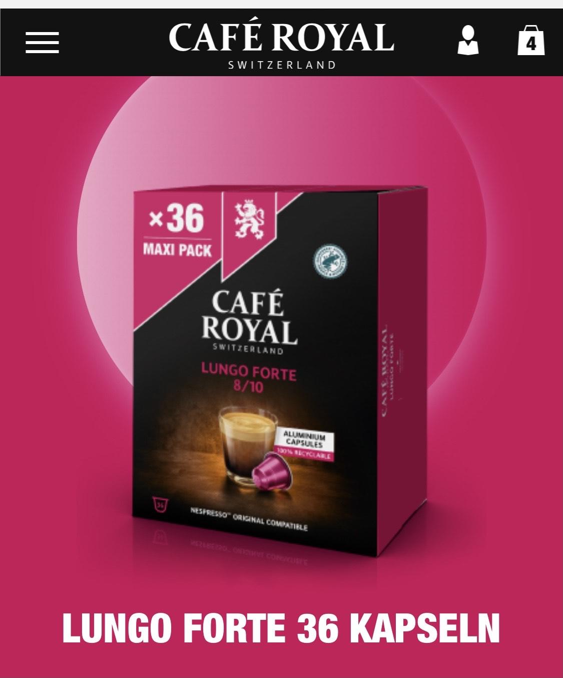 [Café Royal] Nespresso Kaffee Kapseln - Big Pack (36 / 100 Kapseln) 20% Rabatt, 8€ Gutschein ab 40€ MBW. 10 Kapseln geschenkt.