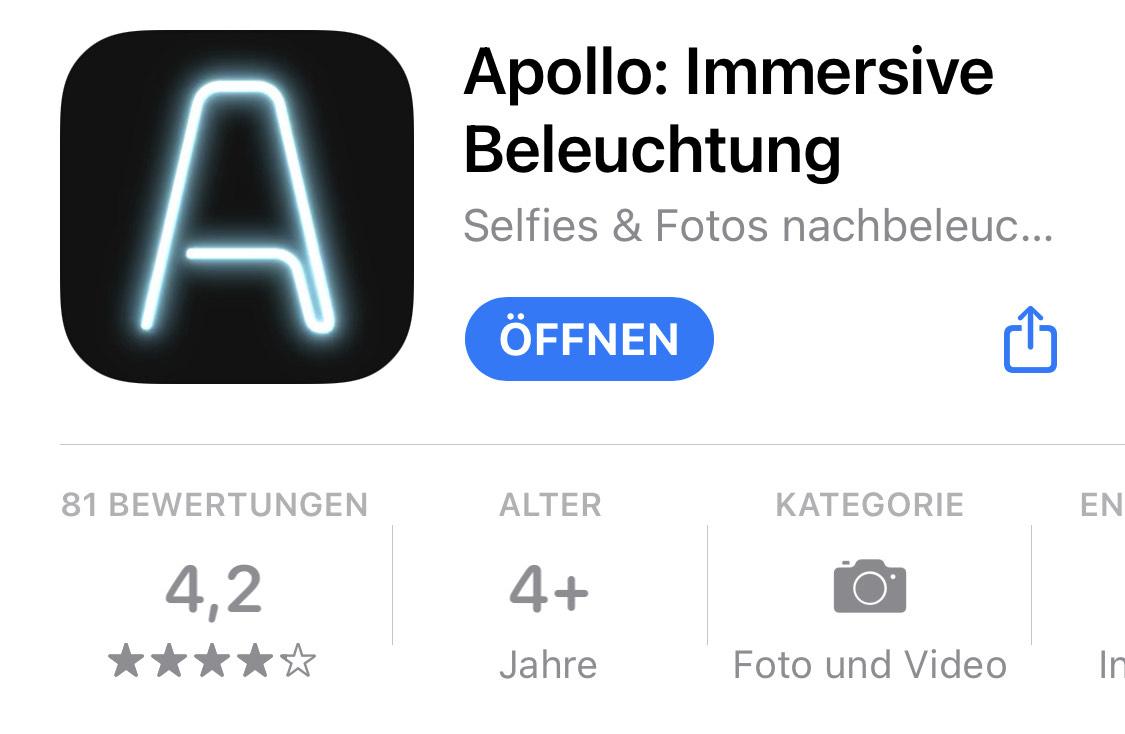 [iOS] Apollo: Immersive Beleuchtung - Anpassung von Fotobeleuchtung - kostenlos statt 3,49 €