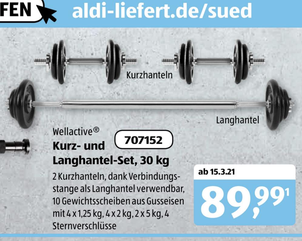 [Aldi-Süd] Kombinierbares Kurz-/Langhantel-Set mit 23kg Guss-Scheiben / 30kg gesamt