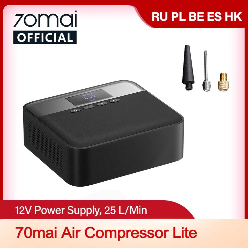 70mai Air Compressor Lite (12V-Betrieb, 25l/min, 0.1-11bar, 1-160PSI, verschiedene Aufsätze, 3.7m Kabel, 79dB, 148x164mm)