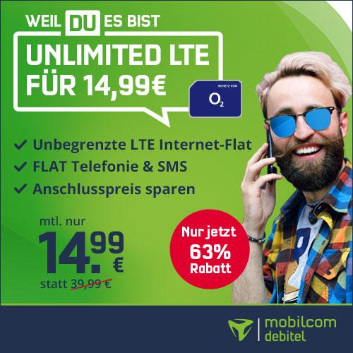 o2 Unlimited Smart LTE für 14,99€ (mtl kündbar oder 24M) unbegrenzt Surfen mit 10 Mbit/s LTE + Allnet-& SMS-Flat (inkl. VoLTE und WIFI Call)
