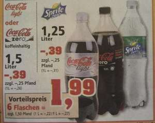[Thomas Philipps] Coca Cola Light und Zero 1,5l. und Sprite Zero 1,25l. für  0,39€ ! BUNDESWEIT