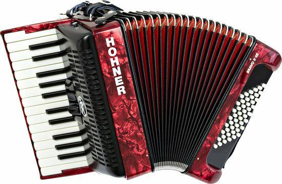 [muziker.de] Hohner Bravo II 48 Red Akkordeon, perfekt für Kinder und Einsteiger, 4,9kg, inkl. Gigbag
