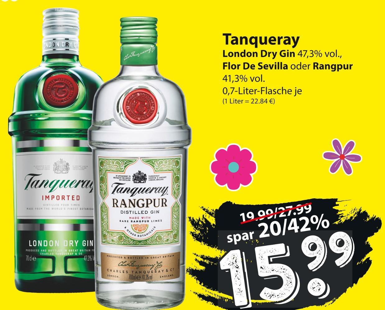 [famila Nordost] Tanqueray Rangpur, Flor De Sevilla und London Dry Gin 0,7l