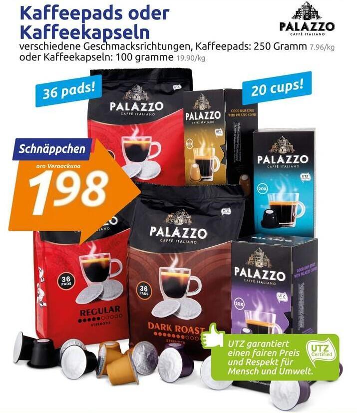 Palazzo 20× Kaffeekapseln (Nespresso kompatibel) oder 36× Kaffeepads (Senseo kompatibel) je 1,98€ (10¢ bzw. 5½¢ pro Portion)