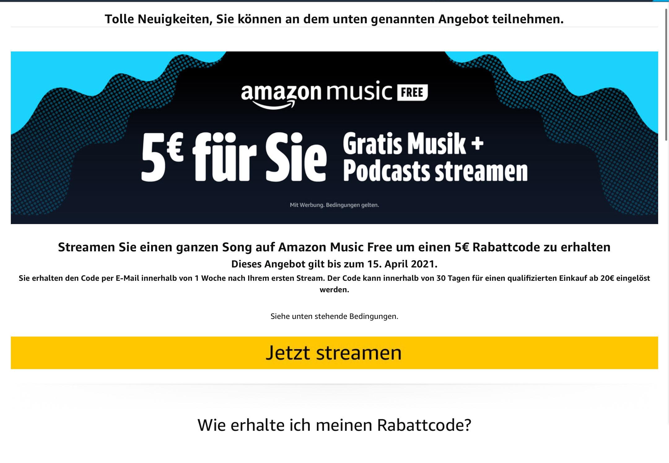 [PERSONALISIERT] [Nicht-Prime] 5€ Amazon Gutschein für Stream eines Songs/Podcasts