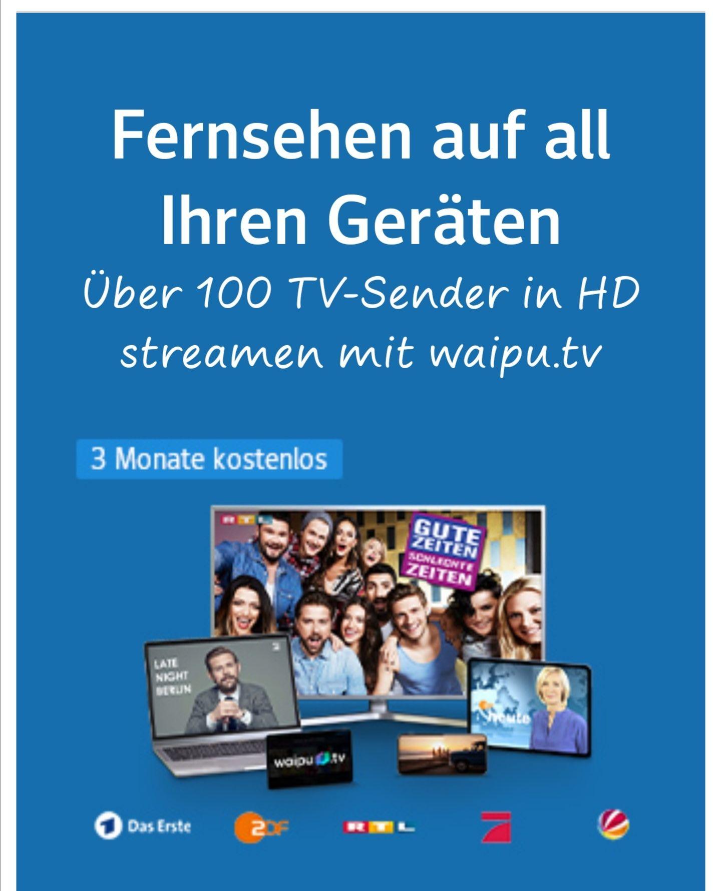 [web. de] 3 Monate gratis waipu.tv Comfort inkl. HD, danach ab 4,99