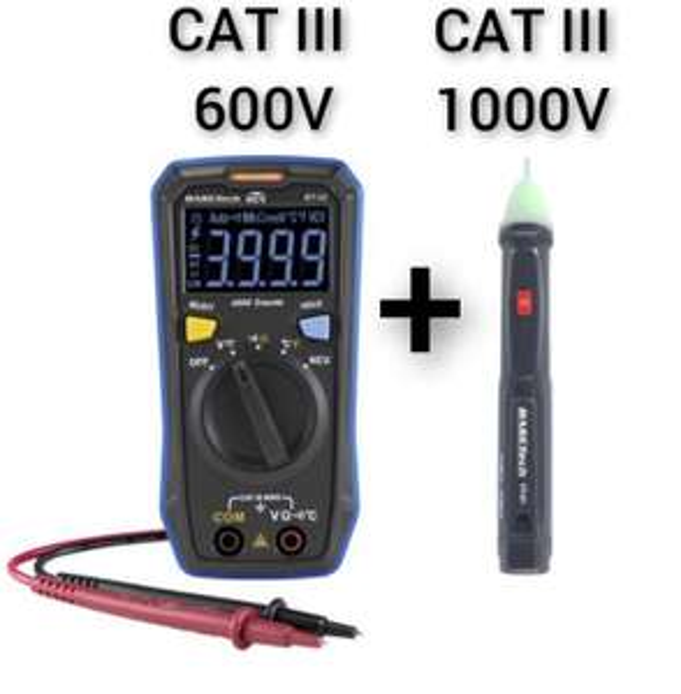 Basetech BT-22 Handmultimeter CAT III 600V inkl. VT-01 berührungsloser Spannungsprüfer CAT III 1000V (automatische Abschaltung)