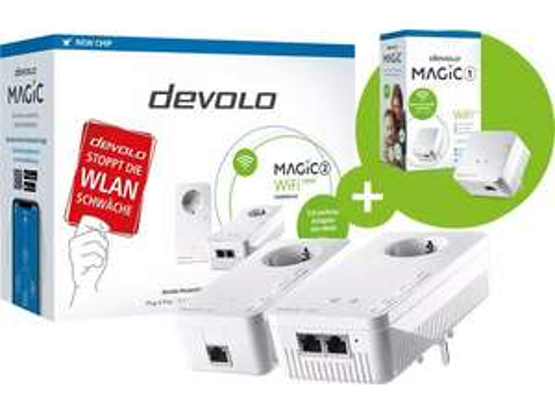 devolo Magic 2 WiFi next Starter Kit + devolo Magic 1 WiFi mini Powerline-Adapter