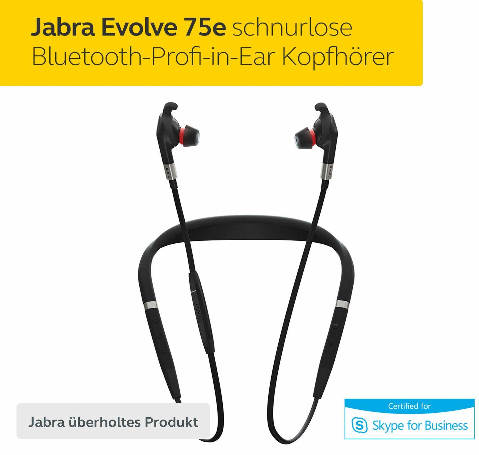 [Refurbished] Jabra Evolve 75e Bluetooth-In-Ears mit Nackenbügel (ANC, ~14h Akku, Multipoint, IP54, inkl. USB-Bluetooth-Adapter)