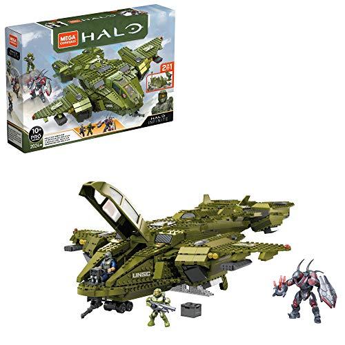 [Amazon][Klemmbausteine-Fluggeräte] Mega Construx GNB28 Halo Infinite UNSC Pelican-Flugschiff, mit 2024 Teilen.