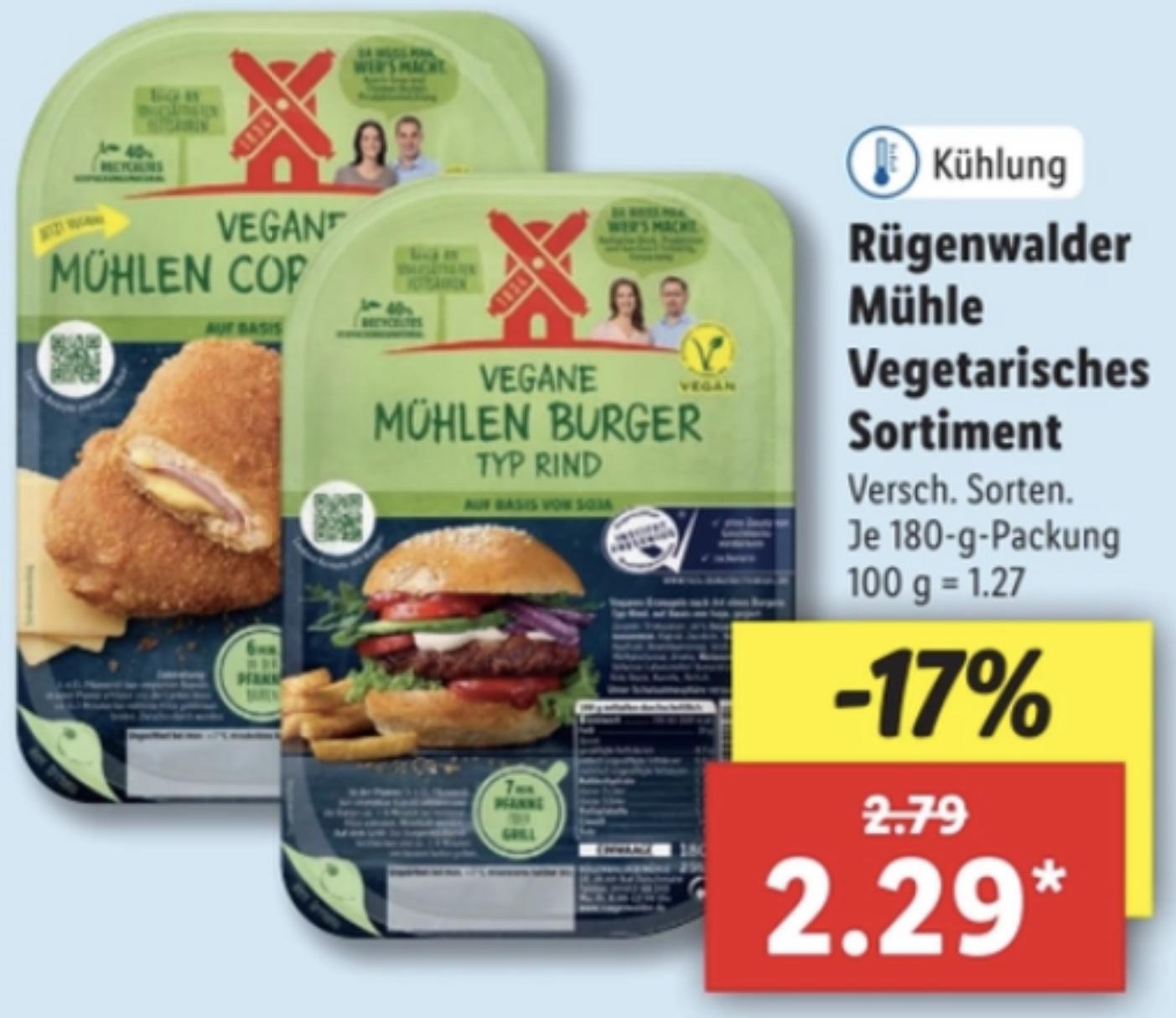 Lidl: Rügenwalder Vegane Mühlen Burger Typ Rind o. Vegane Mühlen Cordon bleu versch. Sorten für je 2,29€ / Kalif. Pistazien 250g für 2,59€
