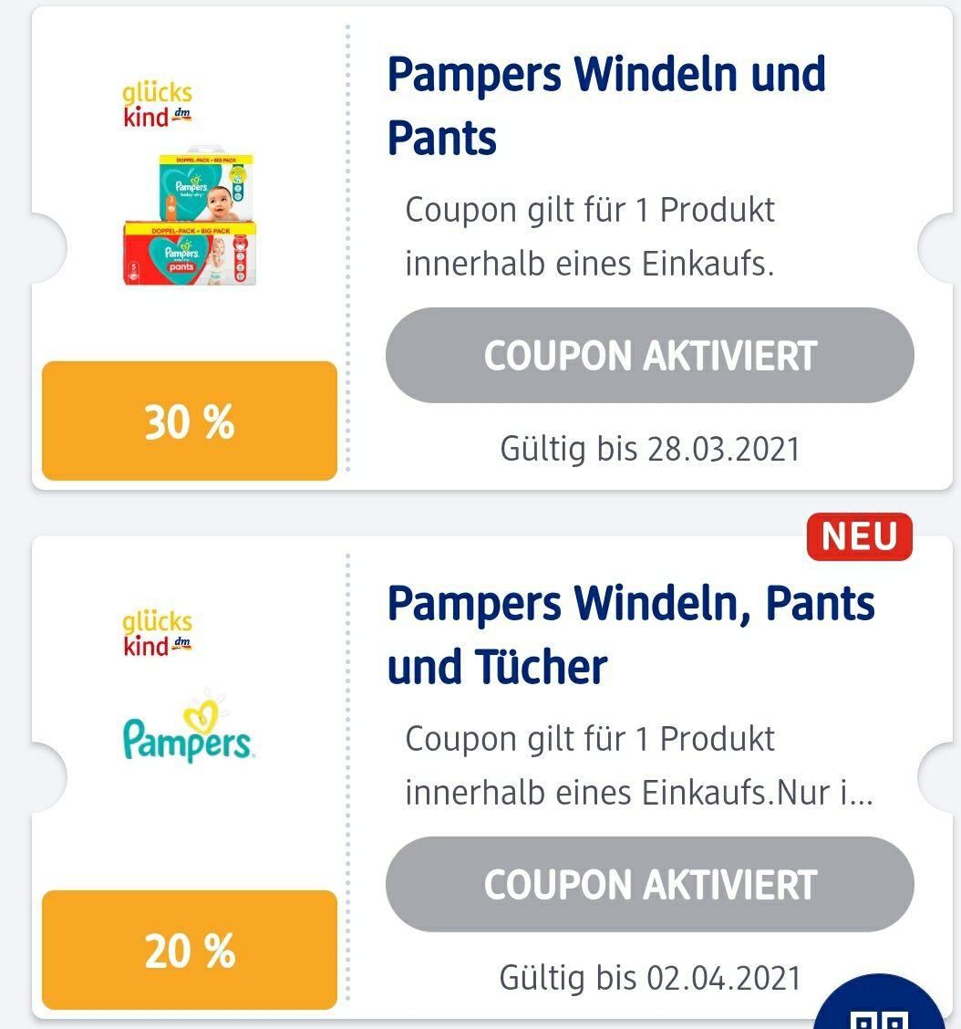 Pampers 30 % und 20 % Coupon kombinierbar in der DM App z.B Monatsbox Baby Dry 180 Stück Gr. 3 + 20 Fach Paybackpunkte (personalisiert ?)