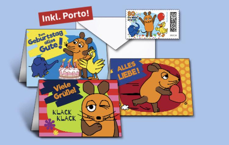 """2 x 5 Grußkarten mit Umschlägen, 10 selbstkl. Marken """"Die Sendung mit der Maus"""" à 0,80 EUR"""