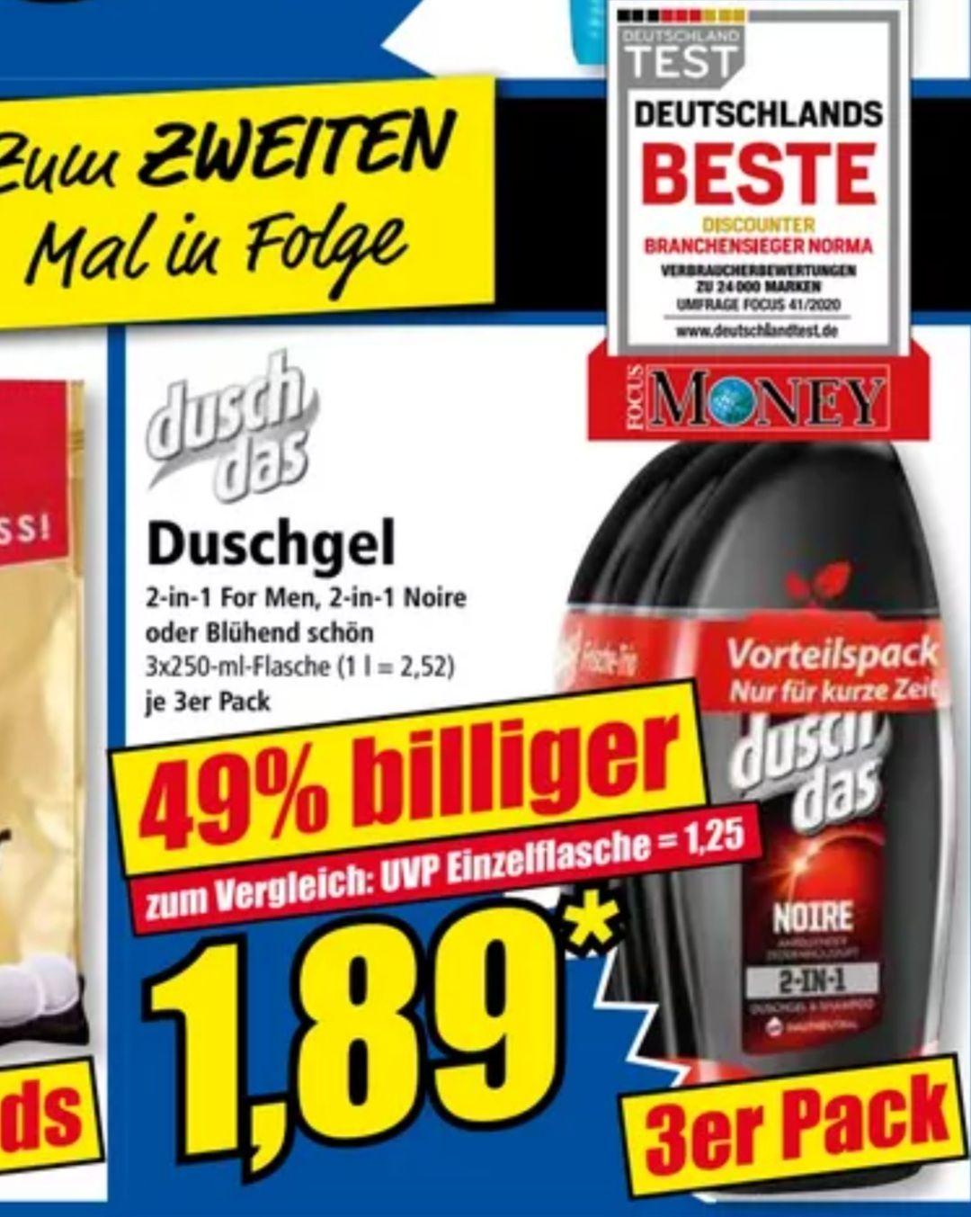duschdas Duschgel 3er Pack je 250 ml für 1,89€, pro Flasche 63 Cent ab 12.03 Norma