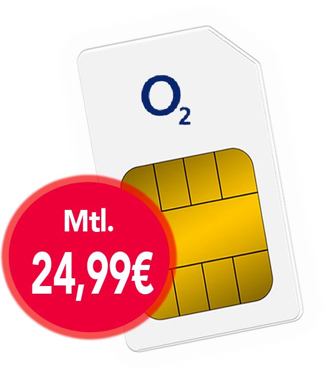 o2 Free Unlimited LTE MAX für 24,99€ im Monat - LTE 5G 300 Mbit/s + Allnet Flat + SMS Flat
