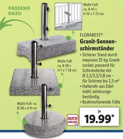 Lidl: Sonnenschirmständer mit 25 kg Granitsockel versch. Modelle für je 19,99€ / Sonnenschirm rund o. eckig ab 14,99€