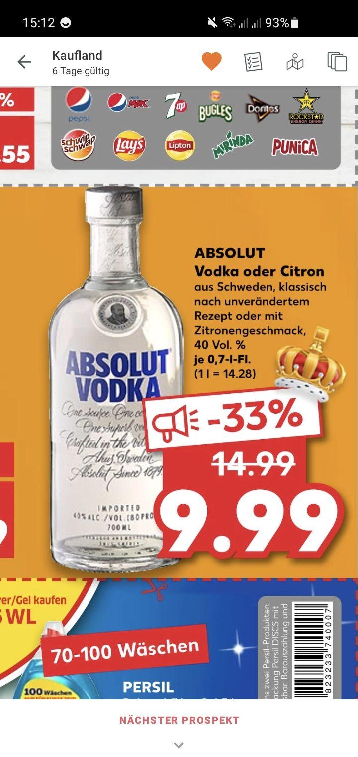 ABSOLUT Vodka Original oder Citron für nur 9.99€ bei Kaufland ab dem 04.03.2021