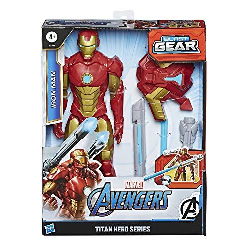 Marvel Avengers Titan Hero Serie Blast Gear Iron Man, 30 cm große Figur, mit Starter, 2 Accessoires und Projektil (Prime)