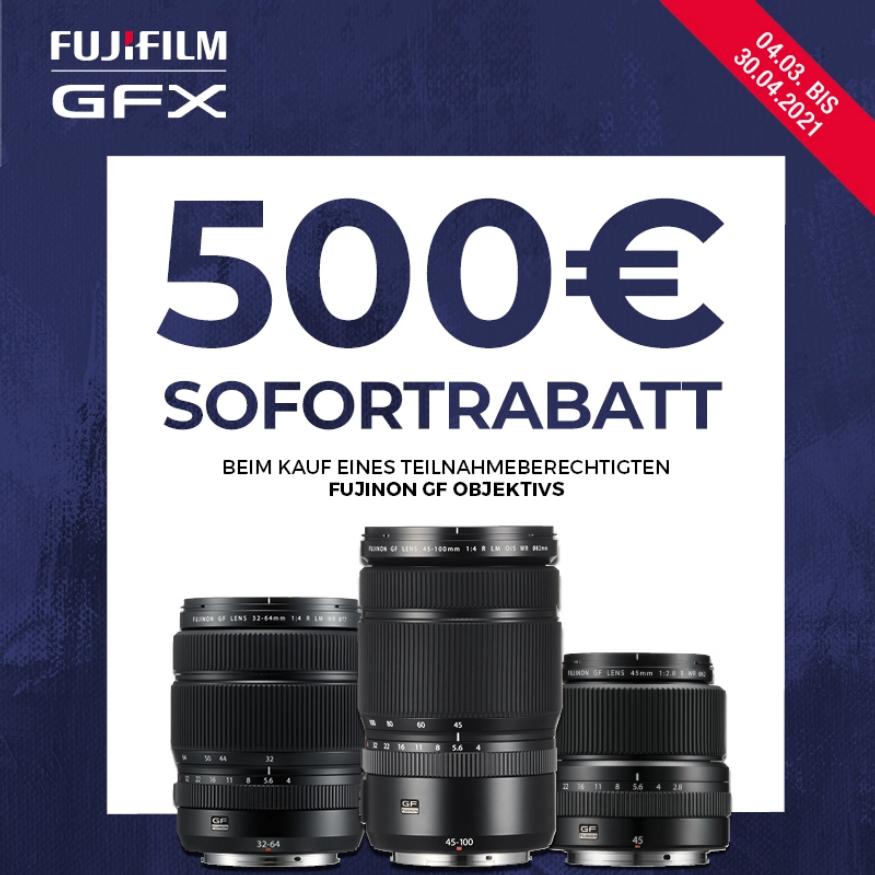 500€ Sofortrabatt beim Kauf eines berechtigten Fujifilm Fujinon GF Objektivs