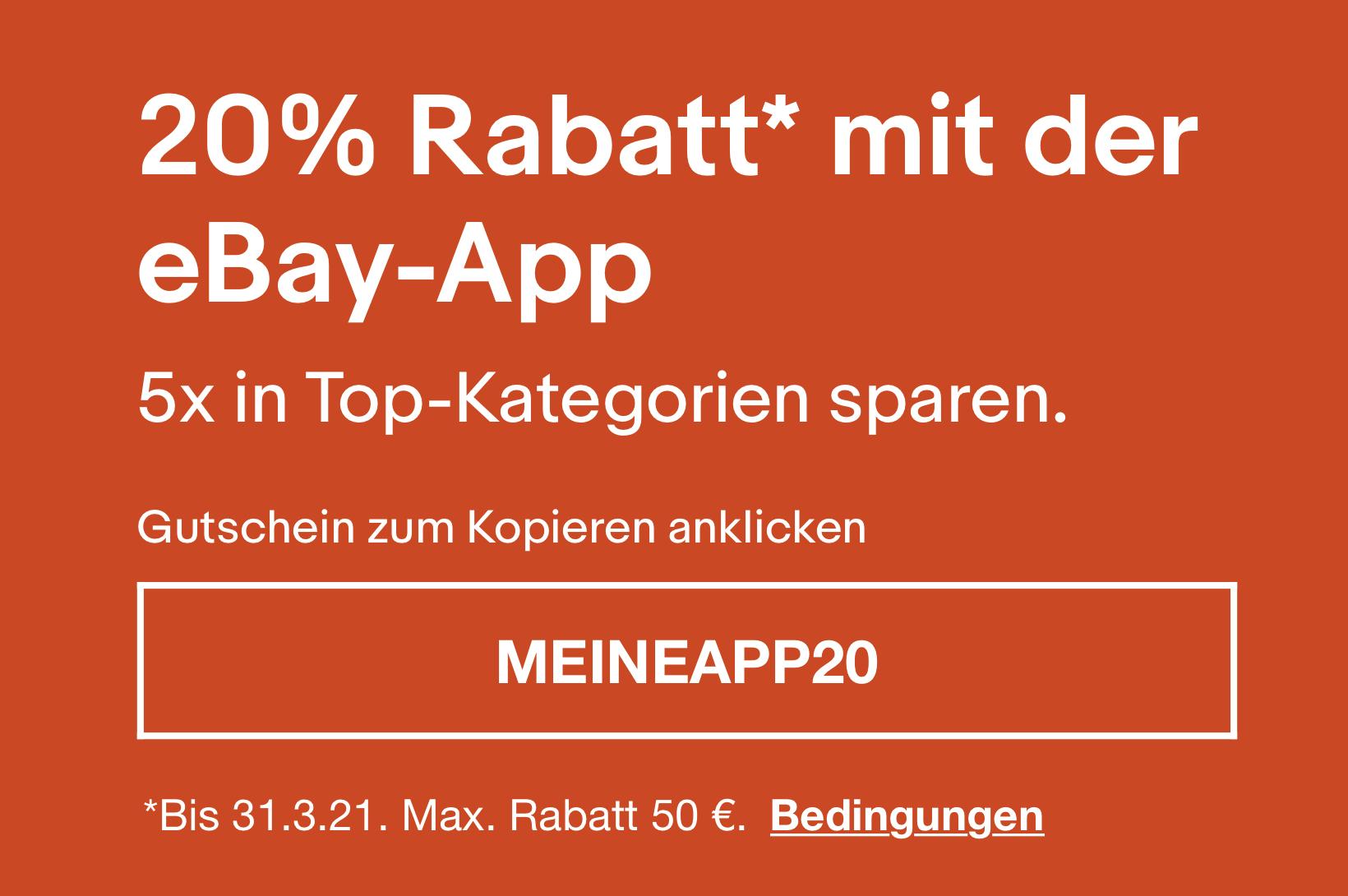 Personalisiert: 5 x 20% Rabatt mit der Ebay-App