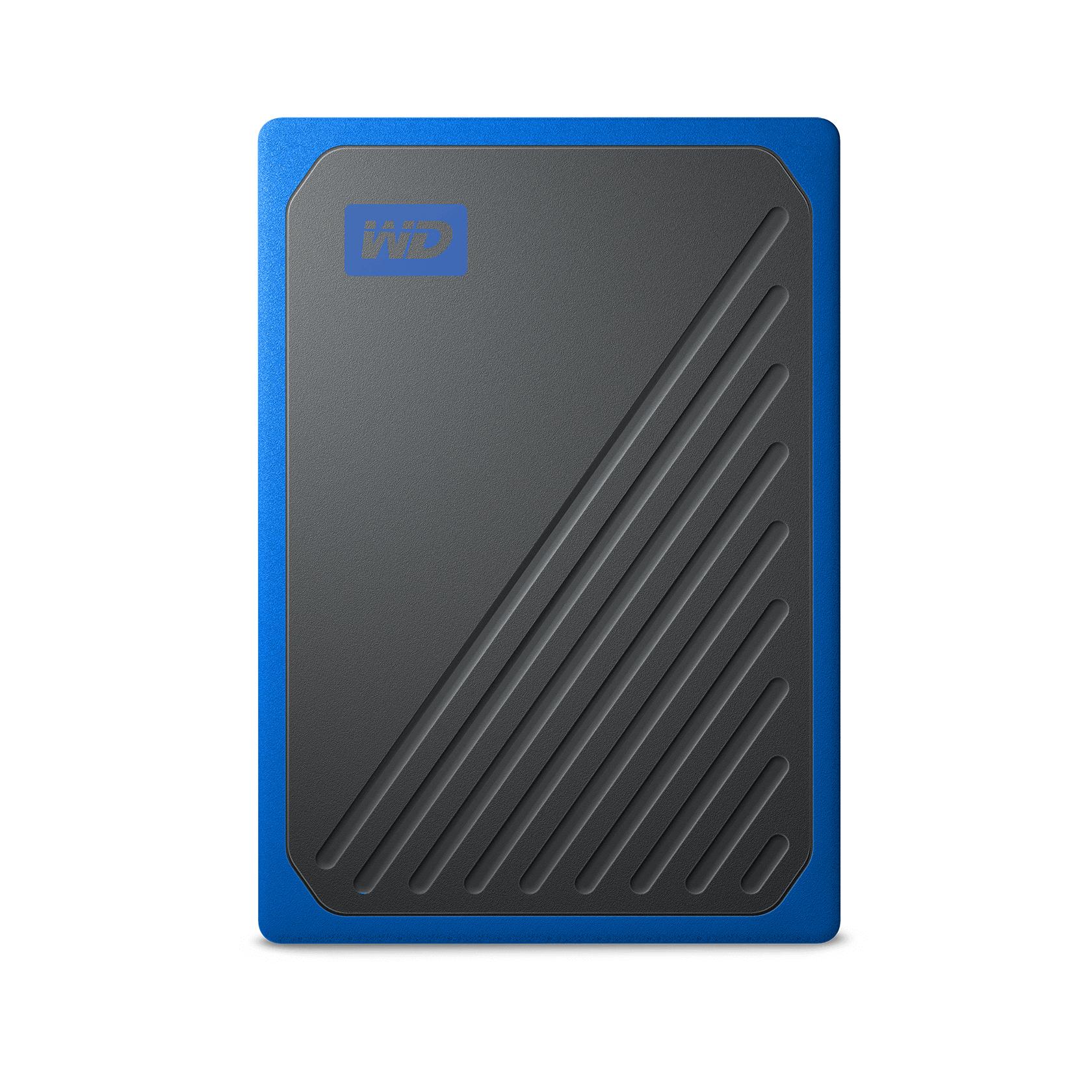 WD My Passport™ Go 2TB SSD, 2,5 Zoll, extern, Schwarz/Blau, 1TB für 94,99 Euro