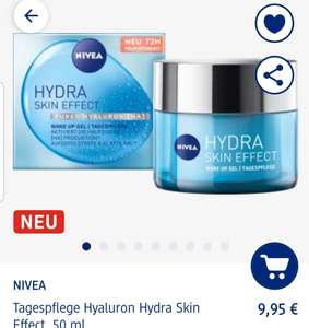 [Dm] Nivea hyaluron Tagespflege kaufen Hyaluron Tagespflege gratis dazu, Kombi mit 20fach Payback und 33fach auf Gesicht ca.4,43 zusammen