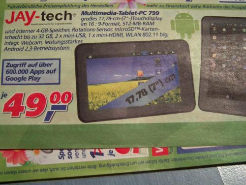 "(REAL ab montag 04.03.)jay-tech Multimedia PC 799 7"" tablet pc 4 GB 2xmini usb-1xmini HDMI"