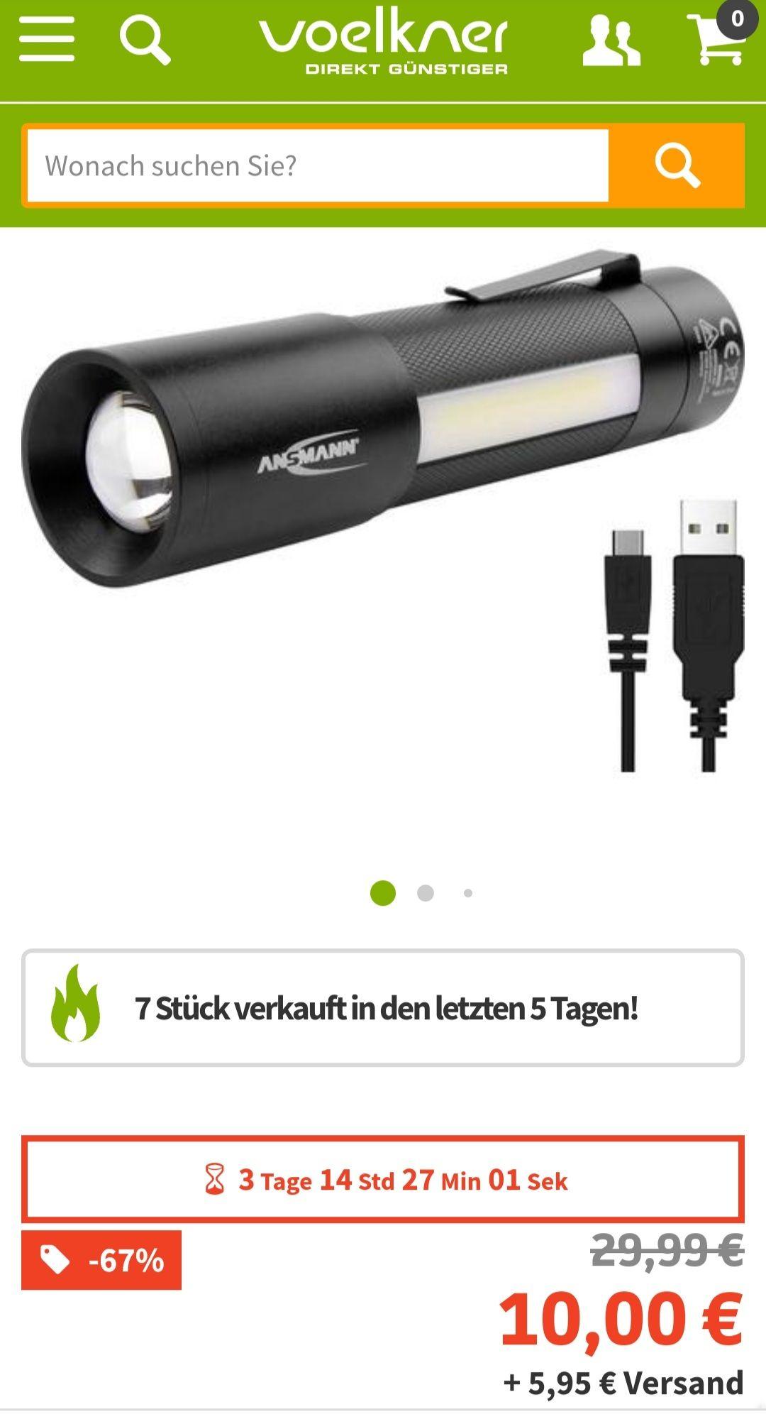 Ansmann 1600-00248 Taschenlampe mit Gürtelclip, mit Handschlaufe 340g und Schnäppchen für nur 10 €, 15 € oder 20 € bis 08.03.