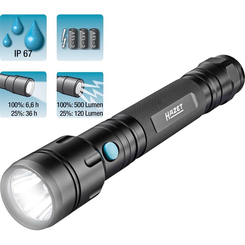 Hazet 1979-73 LED Taschenlampe mit 10 Watt, 500 Lumen + Batterien