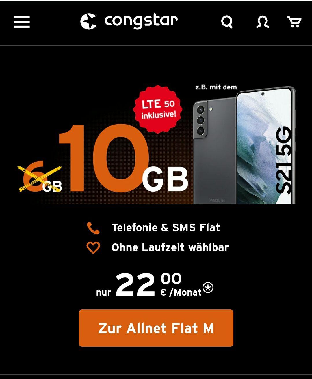 Congstartarif Allnet Flat M 10 GB statt 6 GB + LTE50 inkl. Besonders für Bestandskunden
