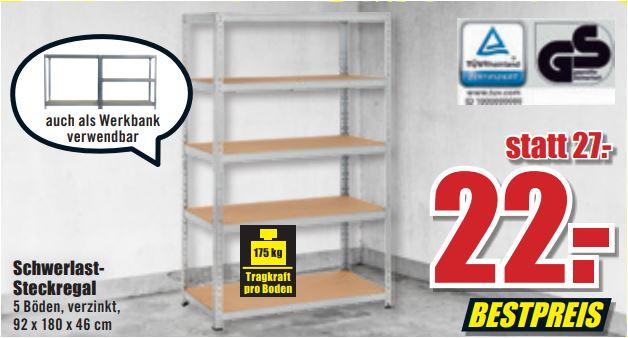 Schwerlastregal (Toom), 5 Böden, 175 kg pro Boden, verzinkt, 92 x 180 x 46 cm für 22 Euro [ B1-Discount]