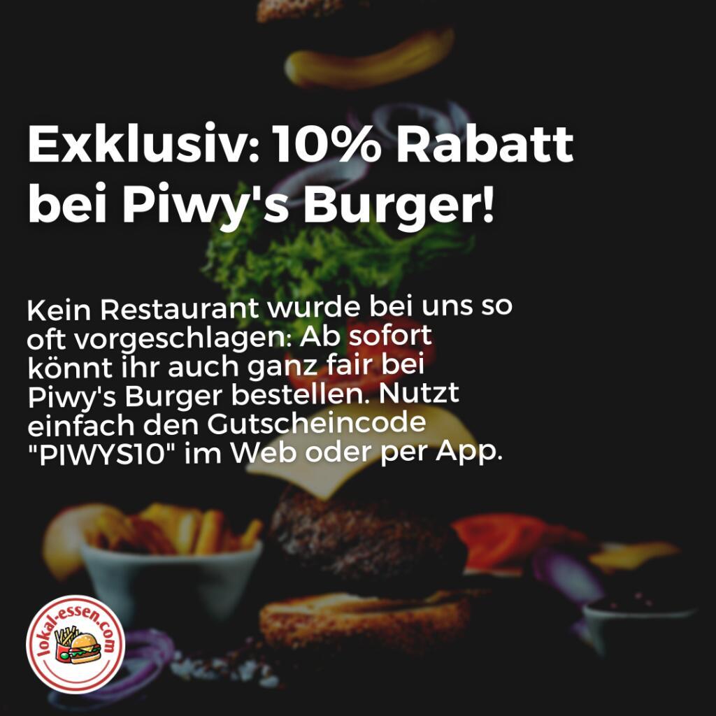 "[LOKAL - OBERHAUSEN] - 10% Rabatt bei Piwy's Burger in Oberhausen - ""Bester Burger der Region"" lt. WDR"